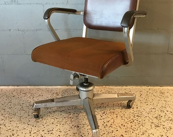 Mid Century Industrial Eck-Adams Corp Rolling Arm Chair