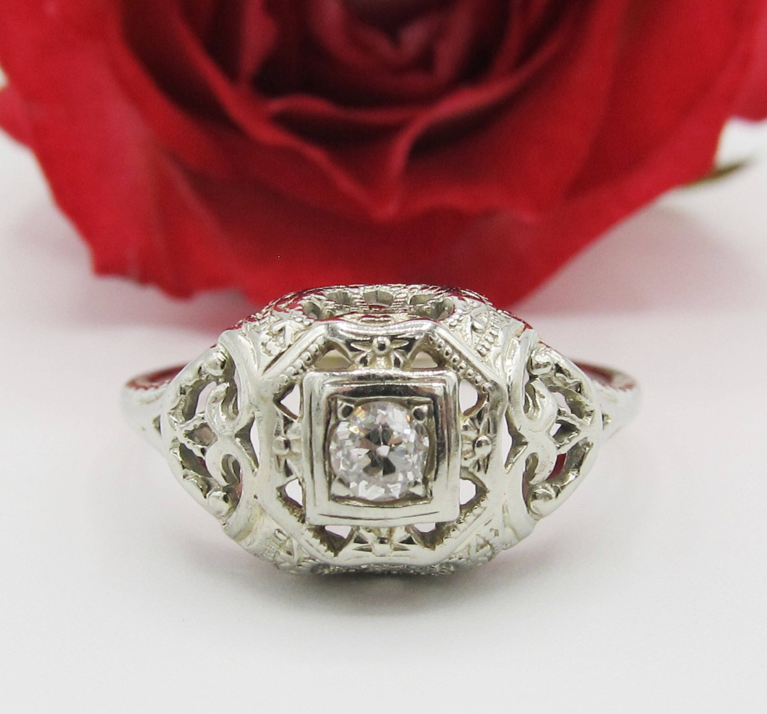 Art Deco Diamond Filigree Engagement Ring 14k White Gold