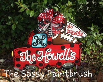 Personalized Georgia Bulldog Pickup Door Hanger. These can be made for any sports team.