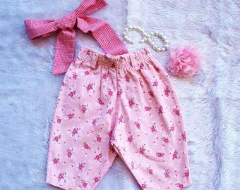Baby Girls Pants, Baby girls Baggy soft corduroy pants, Baby girls chino pants  Size 6 and 12 months. FREE Headband