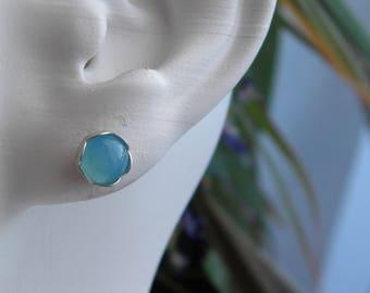 8mm Blue Chalcedony Stud Earrings, Gemstones, Sterling Silver Flower Posts, Stud Earrings, Post Earrings, Gift, KarenWolfeCreations