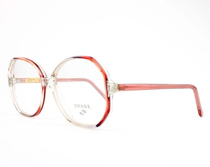 80s Vintage Eyeglasses   Oversized Rounded Glasses   NOS 1980s Clear Eyeglass Frame   NOS Deadstock Eyewear - Crystal