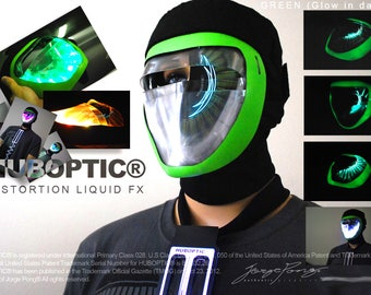 Glow in Dark - Liquid Fx Mask - Light Up DJ Mask - Sound Reactive Rave Mask Robot helmet Cosplay Party Costume Ghost Mask Villain Neon Mask