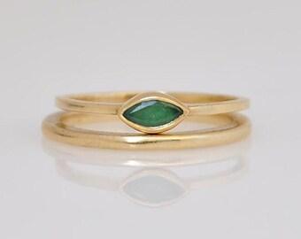 Stacking Gold rings , Set Emerald Gold Ring , Set Of Emerald Marquise Ring , Set Of 14k Gold Rings , Set Of Emerald And Gold Rings