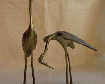 Pair of retro mid-century brass cranes hollywood regency - medium to large size