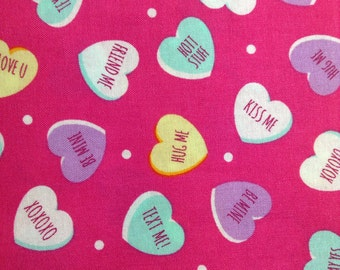 One Half Yard Fabric Material - Candy Conversation Hearts