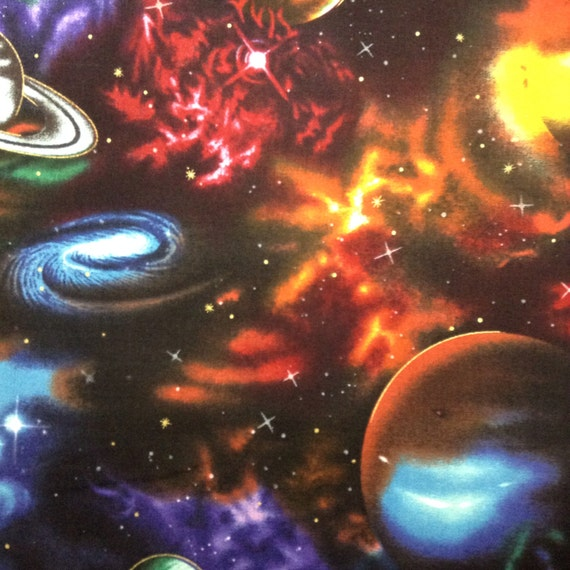One half yard of fabric material outer space large for Outer space fabric by the yard