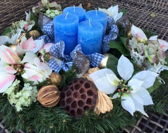 Christmas Candle Wreath with White Poinsettias and Blue Hues