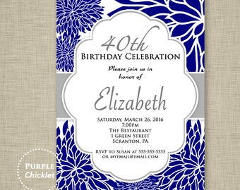 Navy Blue Flower Invitation ANY AGE 40th 60th 80th Birthday Invitation Surprise Feminine Invite Floral Adult Party 320