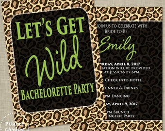 Lets Get Wild Bachelorette Invitation Ladies Night Out Leopard Print Invite Lime Green Adult Party Printable Invite Double sided invite 30