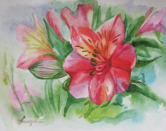 Floral Fine Art Watercolor Painting  Flowers  Home Decor