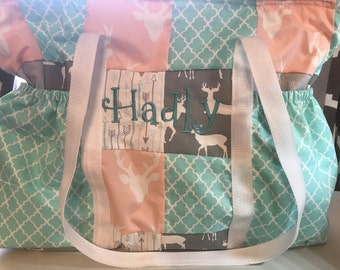Pink deer diaper bag with mint