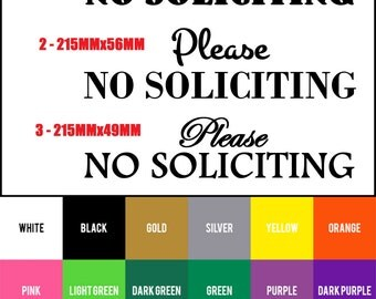 Please No Soliciting vinyl decal sticker