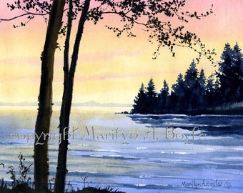 ORIGINAL WATERCOLOR SCENE; Sunrise on the lakes, Canadian art, wall art, trees, shoreline, original art, 5.75 x 8 inches