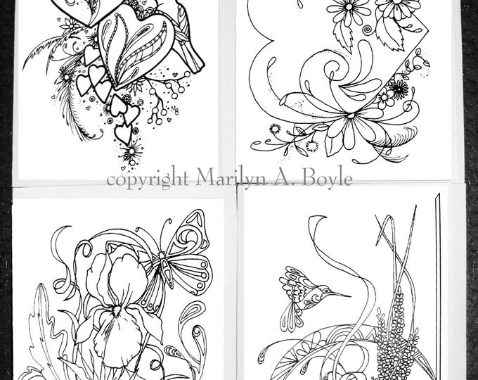 COLORING CARDS - VARIOUS; set of four pen and ink cards, for coloring, from my original art work