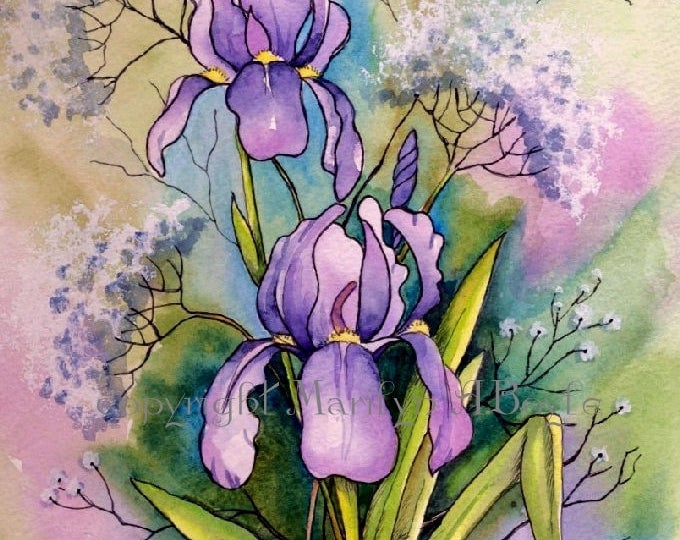 PRINT-FLOWERS-IRISES; wall art, summer garden, approximately 8 x 10 inches, purple color, from an original watercolor, Mother's day gift,