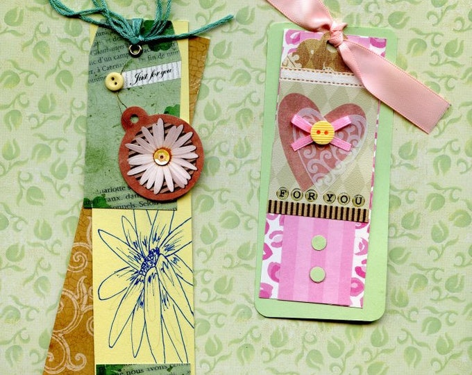 GIFT TAGS - HAND Mad; layered, buttons, 3-D,  for you, one of a kind, for birthday or any occasion.