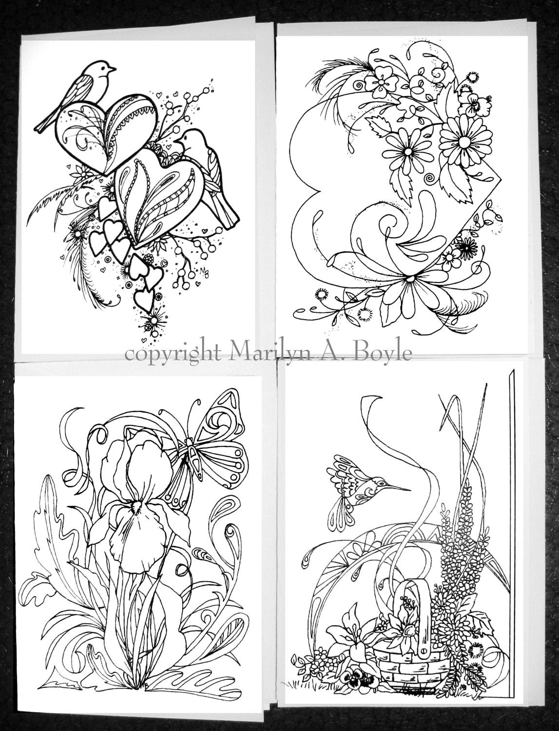 COLORING CARDS - VARIOUS; set of four pen and ink cards, for ...