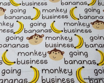 Flannel Fabric - Monkey Business Words - 1 yard - 100% Cotton Flannel