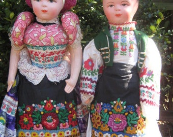 "Pair 22"" Matyo Hungarian Boy and Girl Dolls/Ethnic Hungarian Folk Costume Dolls/ Eastern European Dolls/ European Costumes/Collectible Dolls"