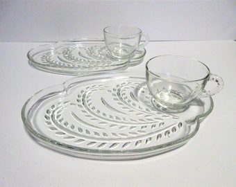 Two Elegant Glass Sandwich Plates with Cups