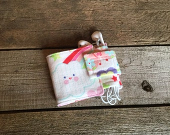 Wallet and Earbud Holder: Clouds and Butterflies