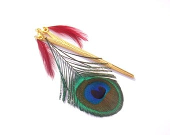 Hair feathers of Peacock and Rooster on Golden base