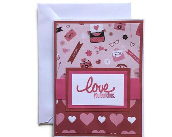 Love You Bunches Valentines Day Card - Blank Card With Envelope, I Love You Blank Card, Love Card, I love you Card, Handmade, Stamped