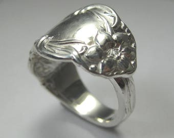 Antique Style Sterling Silver Spoon Ring - Beautiful Detail - Any Size Available
