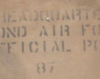 US Army Air Force 2nd af hq Word War II canvas & leather secure mailbag US Mail