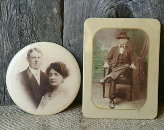 Pair Antique Tin Celluloid Photographs, Antique Photographs, Celluloid Photograph, Wall Decor, Wall Hanging, Easel Photographs, Collectible