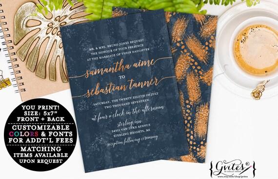 Copper gold navy blue wedding invitations, printable invites, rose gold, glitter couture wedding, glitz and glam fashion designer invites.