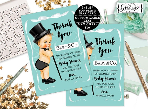 "Baby & Co Baby Shower thank you cards, printable thank you personalized baby boy template blue white bow top hat. {3.5x5"" 4 Per/Sheet}"