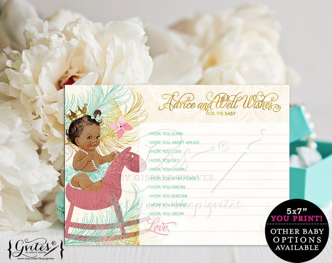 Princess shower wishes, African American girl advice cards, diamonds and pearls, baby shower girl, customizable baby skin-tone, 5x7 2/Sheet