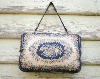 70s Handbag Tapestry Floral Antique Woven Embroidered Clutch Bag Vtg 1970s