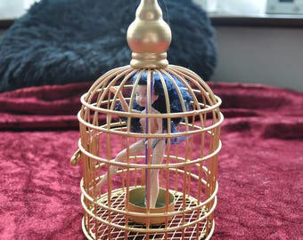 Birdcage pole dancer Bird in a cage gift decor novelty unique handmade glitter and glow