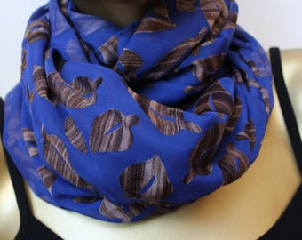 blue infinity scarf - - chiffon infinity scarf - circle scarves loop scarves unique scarf - gift for women royal blue