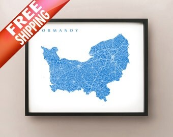 Normandy, France Map Print - Normandie