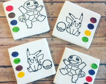 Pokemon/ paint your own cookie / pokemon cookie/ sugar cookies- 1 dozen boxed cookies included