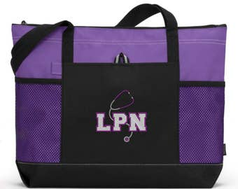 LPN Nurse Tote Bag/ LPN Gifts/ Embroidered LPN With Stethoscope Purple Nurse Tote Bag/ Nurse Gift