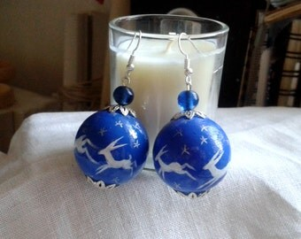 Leaping Hares hand painted wooden earrings
