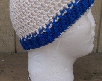 100% Cotton Handmade Blue and White Crochet Beanie