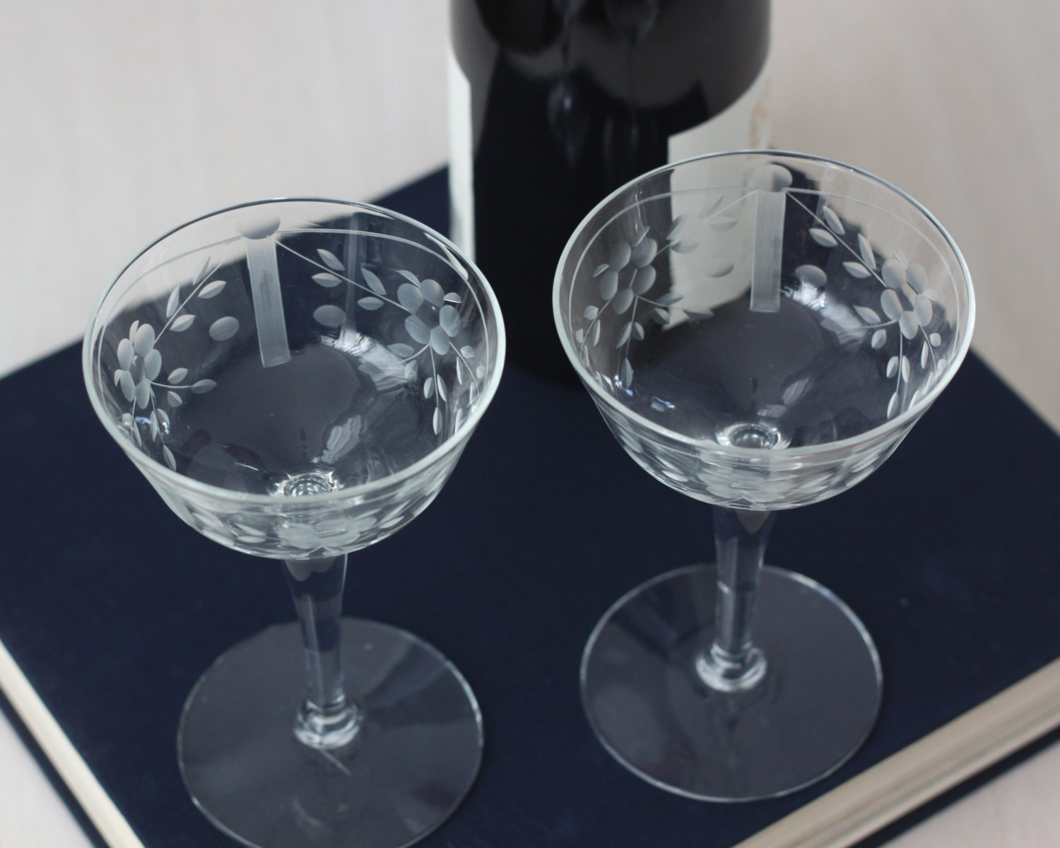 Vintage Etched Wine Glasses Glass Champagne Coupes Etched