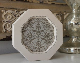Vintage Jewelry Hexagon Box RELOVED, Hand Painted Cream with a Shiny Damask Lining and Rhinestone Trim Bling, Storage Shabby Chic, Wood