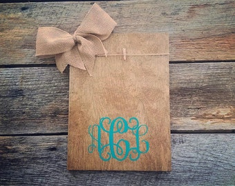 Wooden monogram picture frame