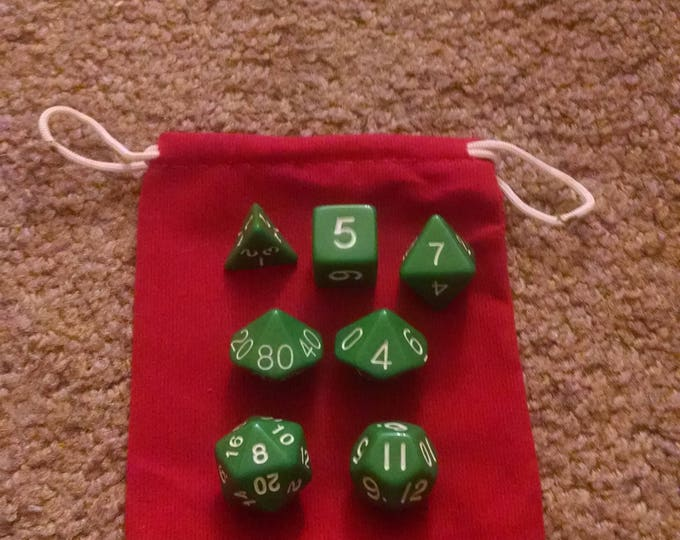 Green Fields - 7 Die Polyhedral Set with Pouch