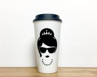 Audrey Hepburn Coffee Mug // Breakfast at Tiffany's Coffee Mug // Audrey Coffee Tumbler // Tiffany's Coffee Tumbler