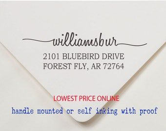 Custom Personalized Return Address Stamp - Handle Mounted or Self Inking - AW94