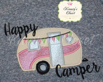 Happy Camper - RV - Travel Trailer - Camping - Applique -  4 Sizes Included -  DIGITAL Embroidery DESIGN