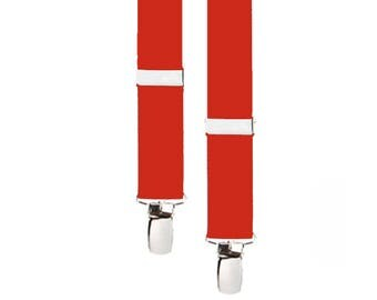 """RED SUSPENDERS - Adjustable - 3 Adult Sizes for Better Fit - 1"""" Width Elastic"""